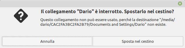 avviso di collegamento interrotto in Linux Mint Cinnamon