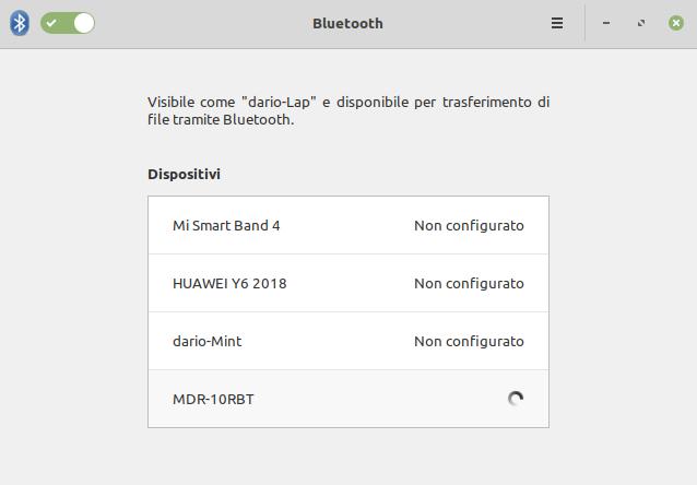 associare un dispositivo bluetooth in Linux Mint 19.3