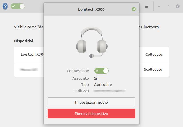 dettagli di una connessione bluetooth Linux Mint 20