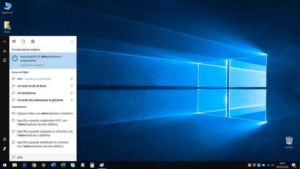 Richiamare le impostazioni di alimentazione e sospensione in Windows 10