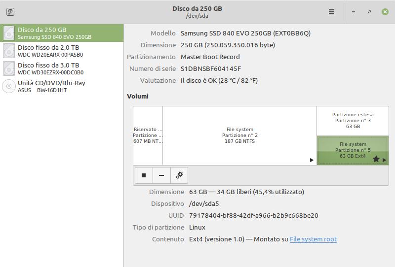 identificazione partizione root SSD