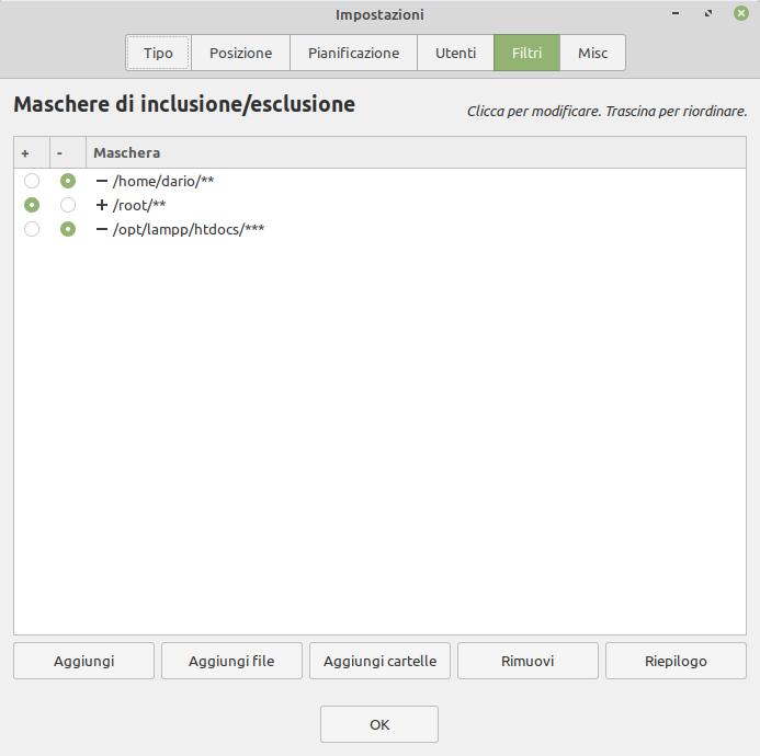 filtri nelle cartelle per i backup di Timeshift