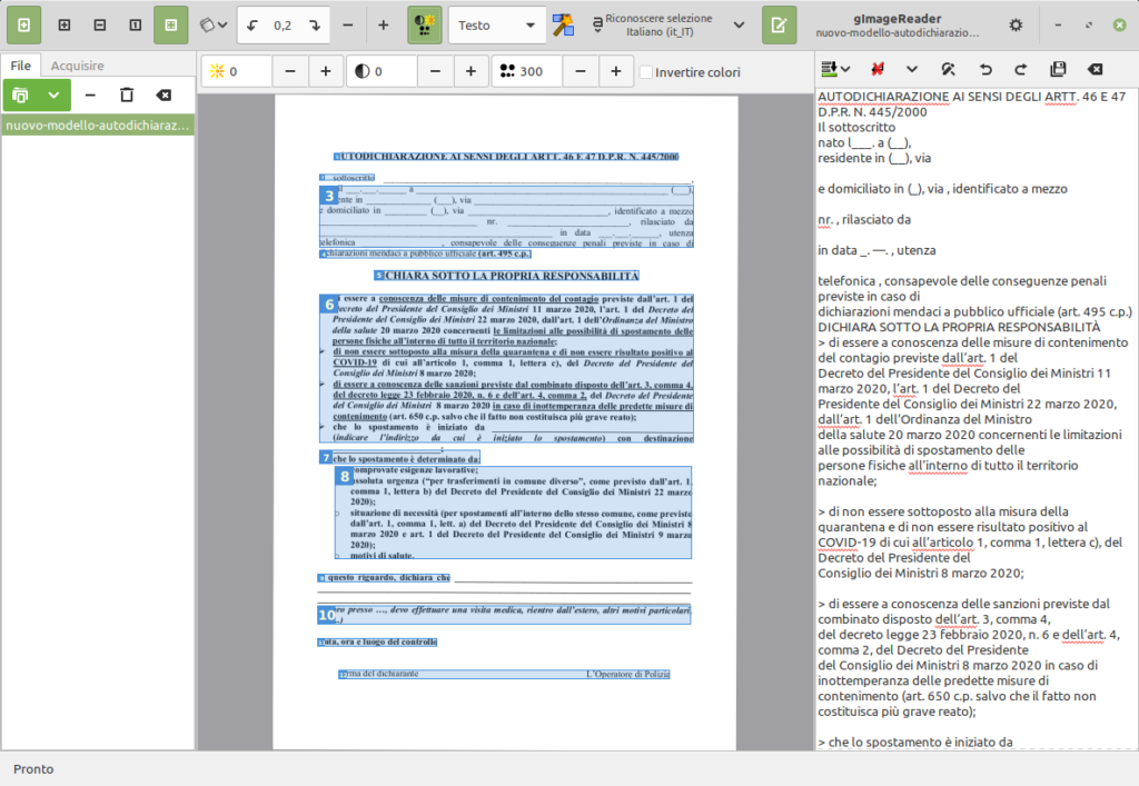 OCR gratuito in Linux Mint con gImageReader e tesseract-ocr