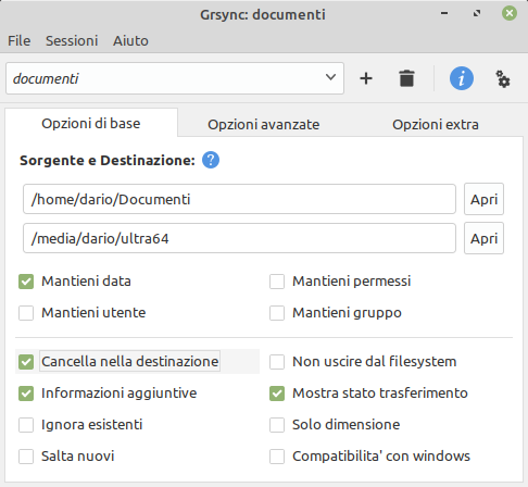 sessione grsync in Linux Mint
