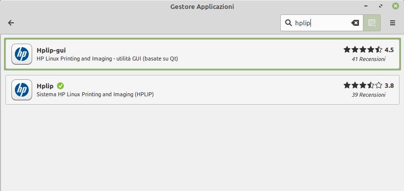 hplip in Gestore Applicazioni di Linux Mint