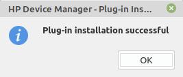 installazione completata di hp-plugin in Linux Mint e Ubuntu