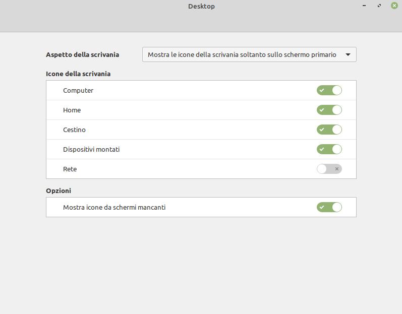impostazioni icone desktop in Linux Mint