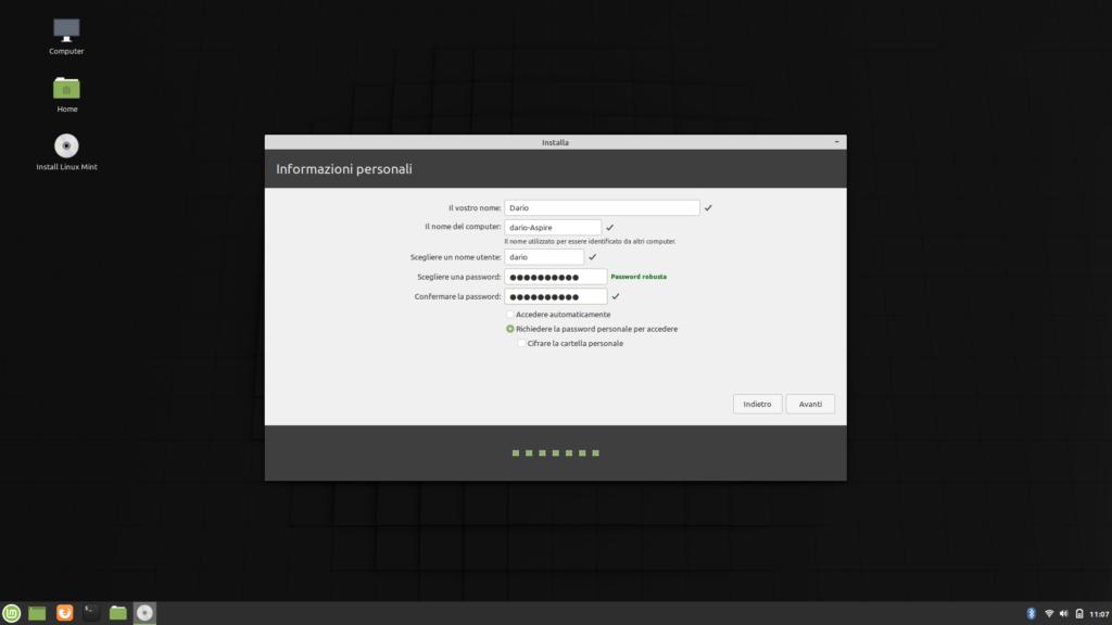 Informazioni personali da indicare per installare Linux Mint