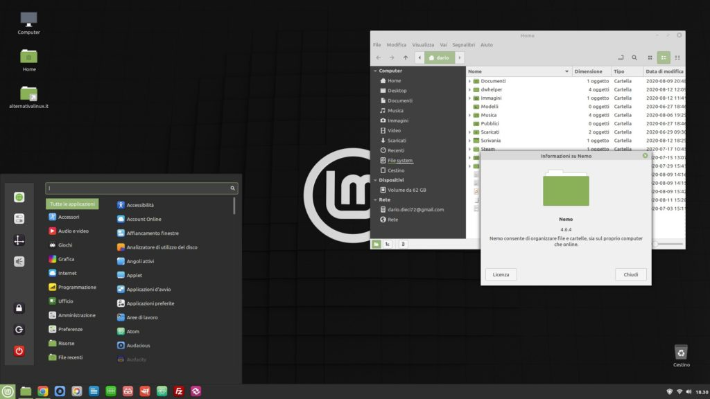il desktop di Linux Mint 20 Cinnamon Edition