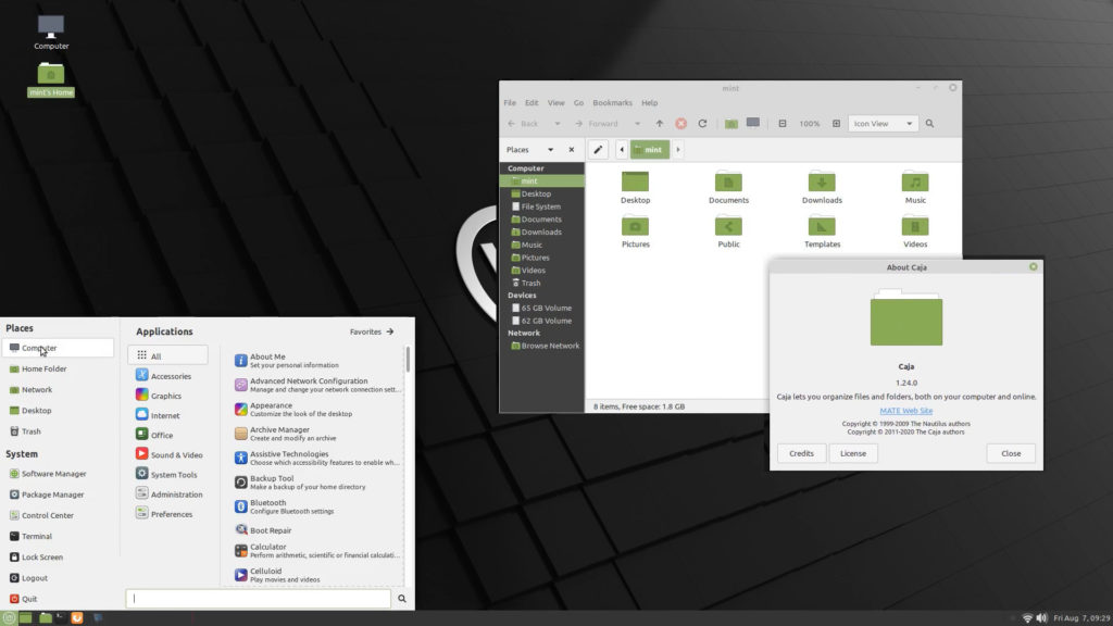 il desktop di Linux Mint 20 MATE Edition