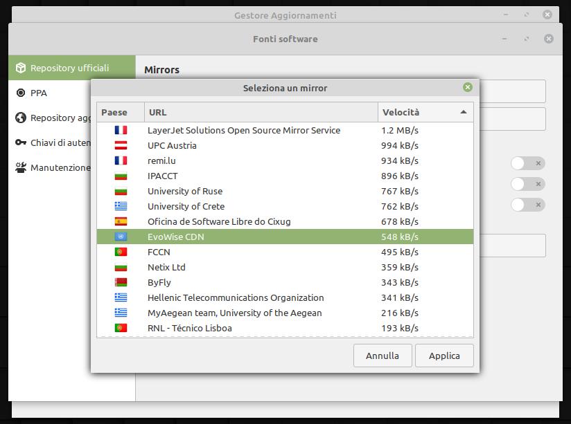 selezione di un mirror per gli aggiornamenti di Linux Mint