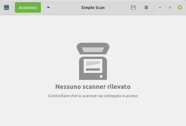 nessuno scanner rilevato da Linux Mint