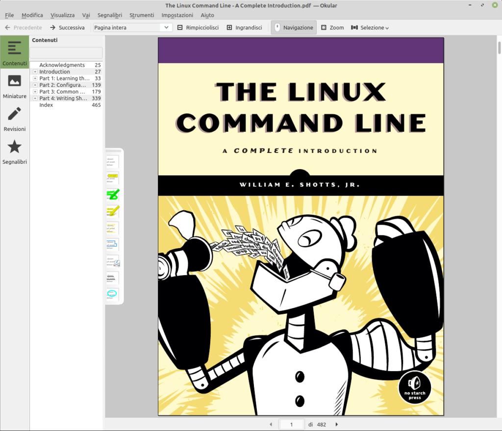 Interfaccia di Okular per Linux Mint