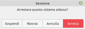 arresto del sistema in Linux Mint