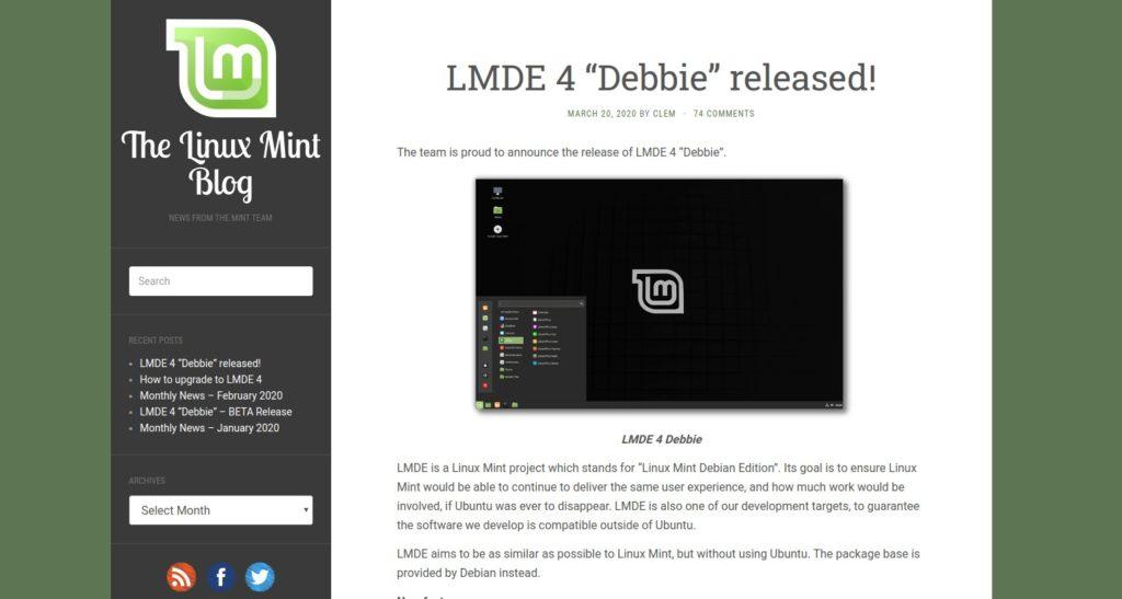 Rilascio di LMDE 4 Debbie