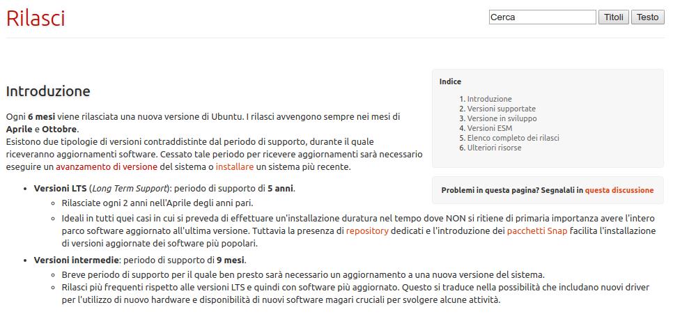 indicazioni sui rilasci di Ubuntu