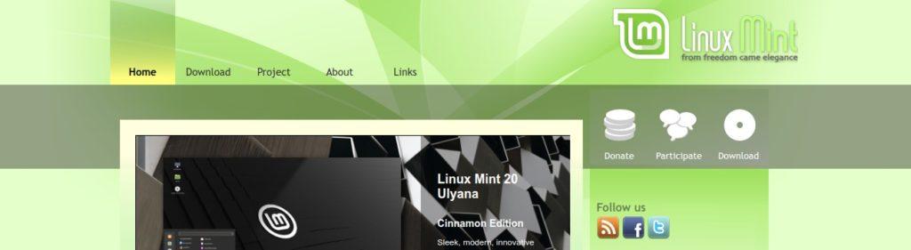 schermata homepage linux mint