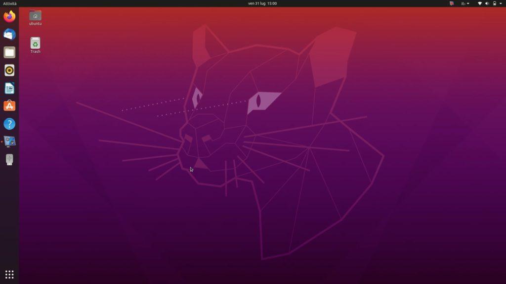 schermata di ubuntu 20.04 LTS