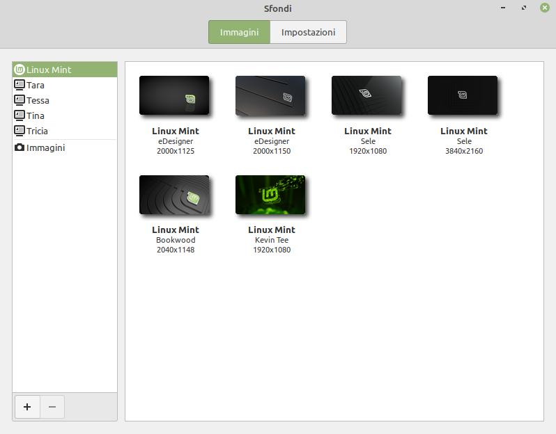 cambia sfondo desktop in Linux Mint