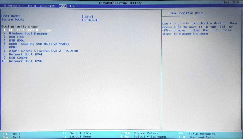 spostamento di shim64 in testa al menu di avvio