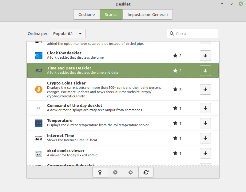 scrica Time and Date Desklet in Linux Mint