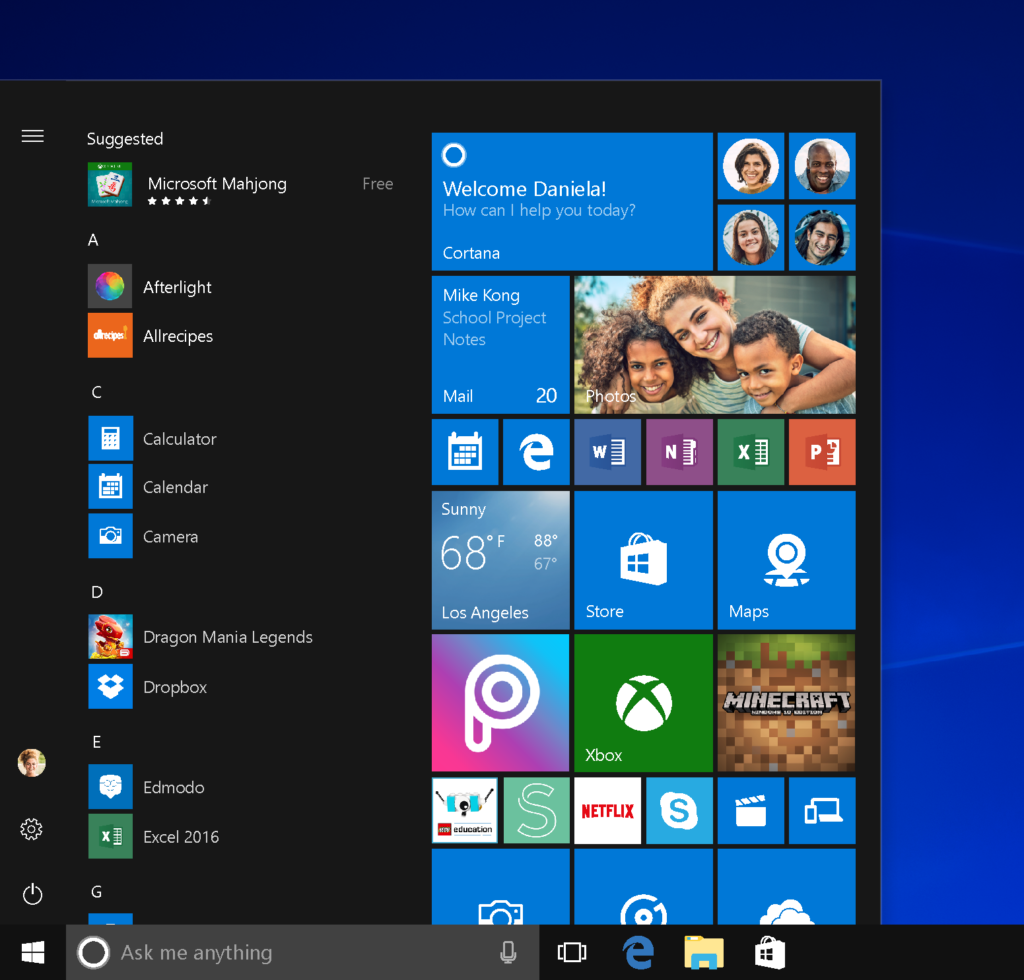 il menu start di windows 10