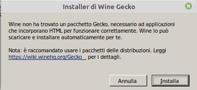 installazione di Wine Gecko