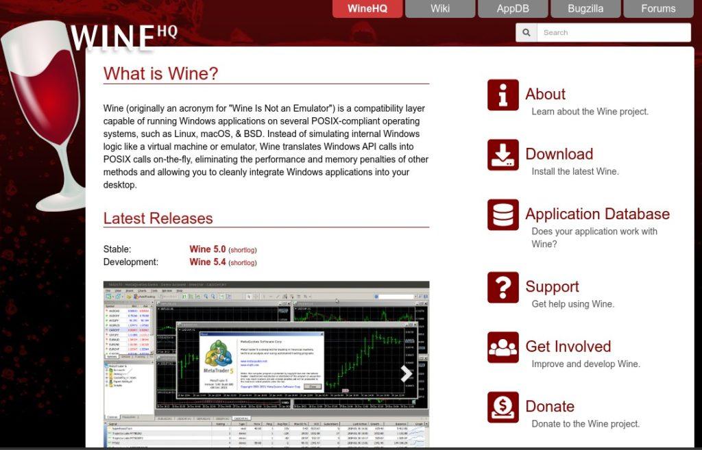 La homepage del progetto Wine