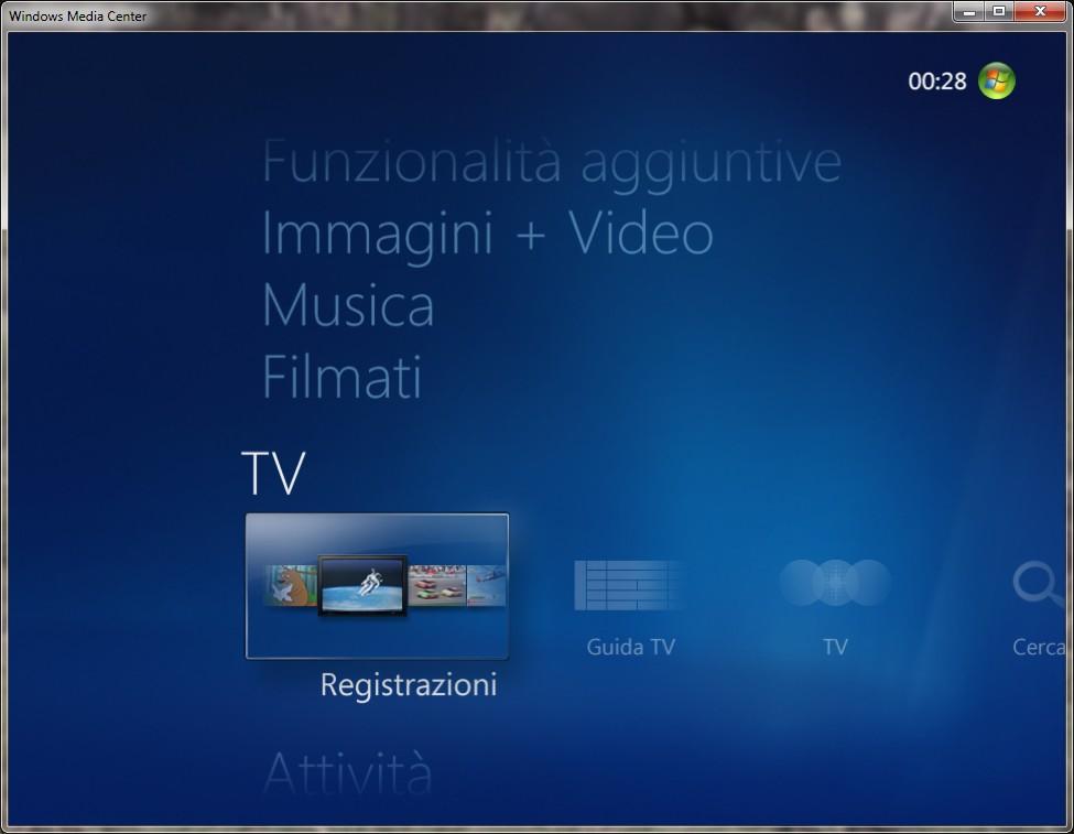 schermata di Windows Media Center