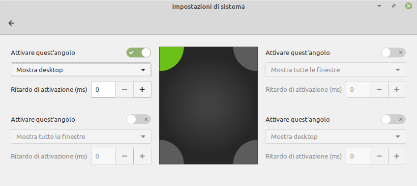 angoli attivi in Linux Mint