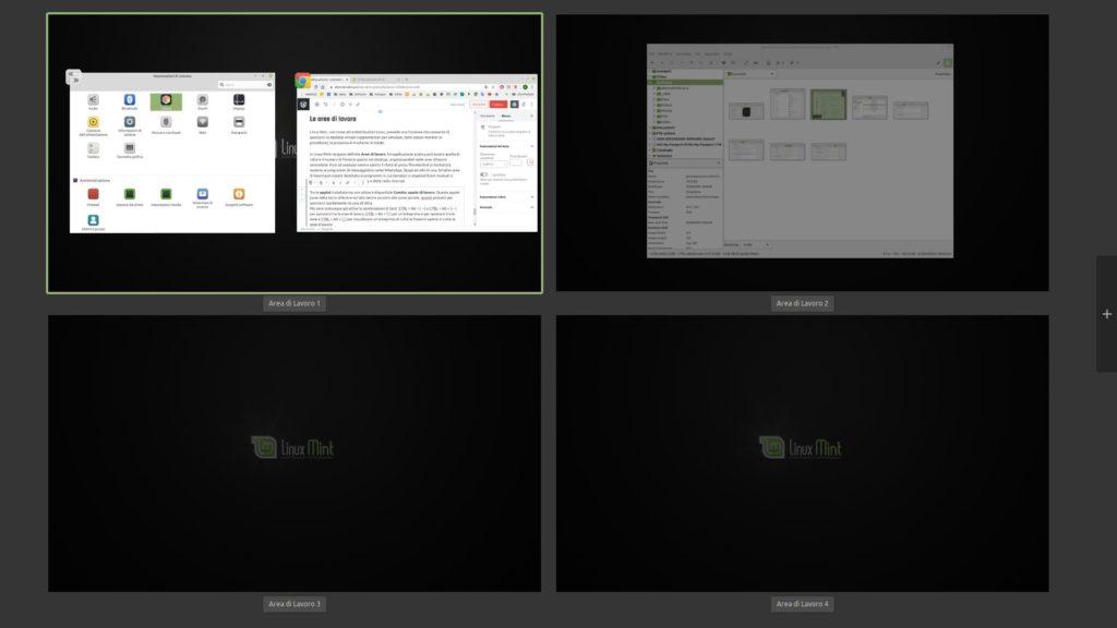 aree di lavoro in Linux Mint