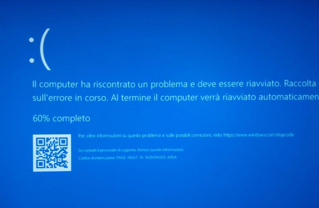 BSOD, blue screen of death dopo un aggiornamento di Windows 10