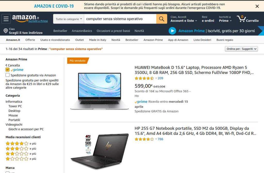 computer senza sistema operativo su Amazon Prime