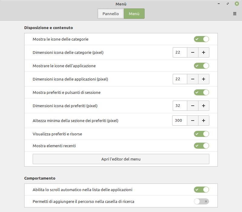 Configurazione menu di Linux Mint 20 Cinnamon