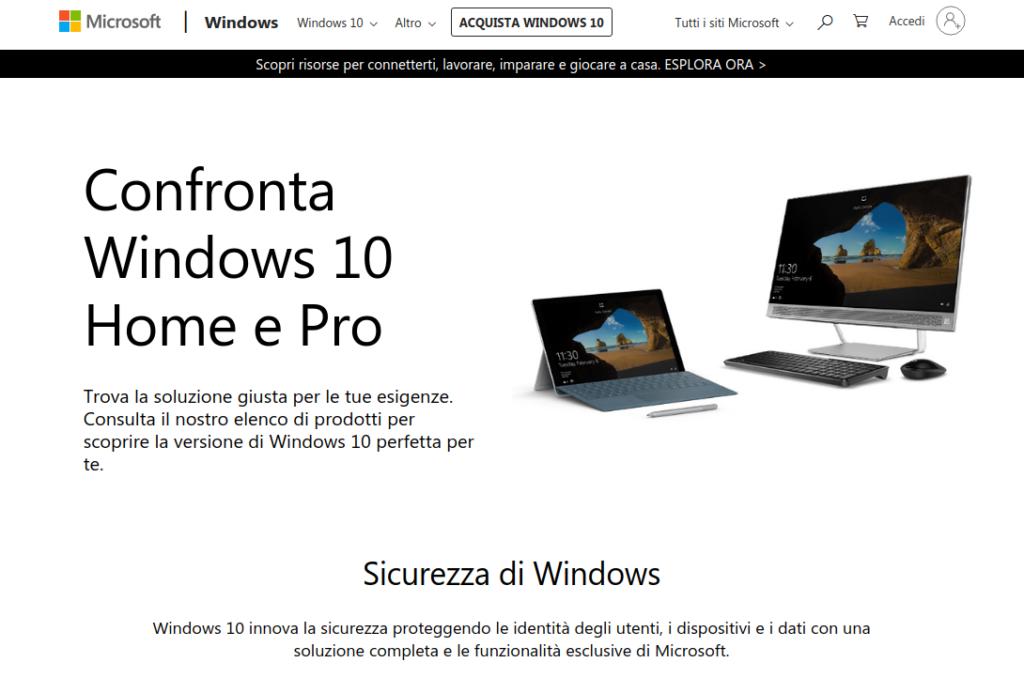 confronto tra Windows 10 Home e pro