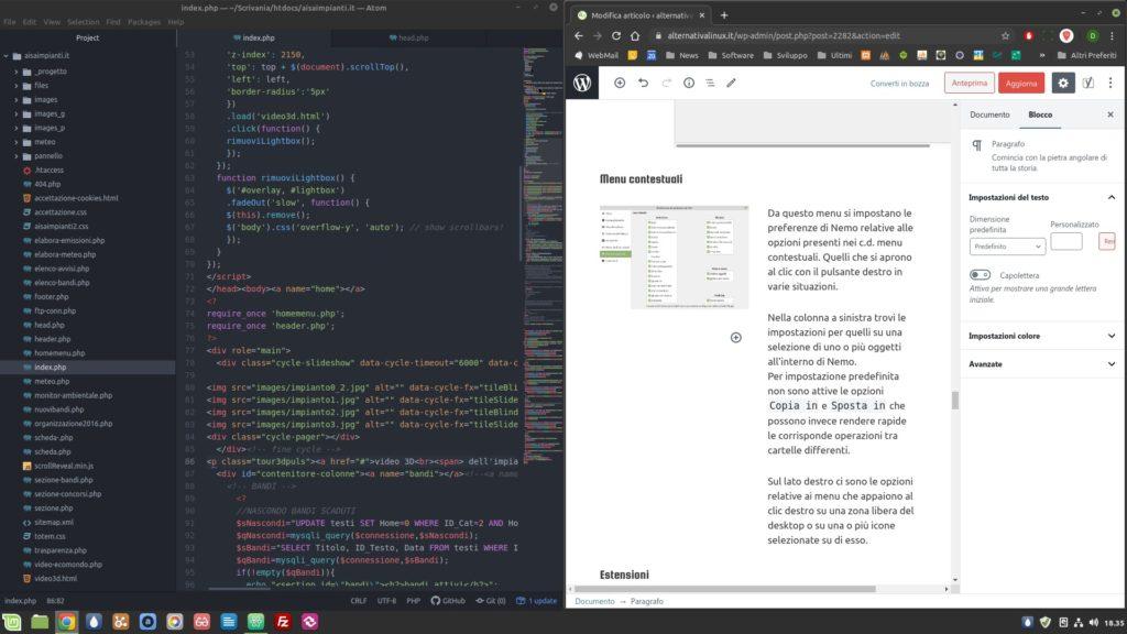 finestre affiancate in Linux Mint