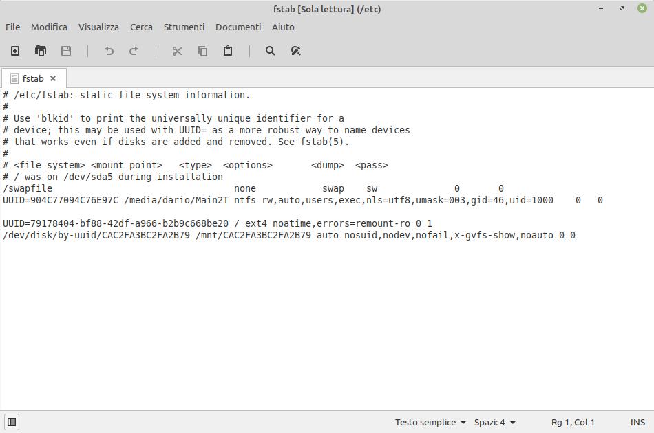 il file fstab in Linux