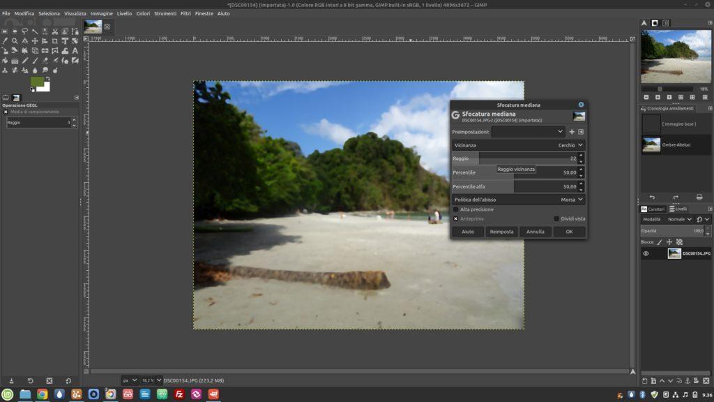 interfaccia di Gimp 2.10 in Linux Mint