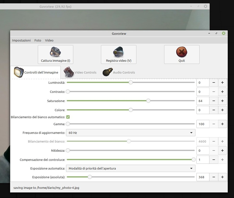 Schermata di Guvcview in Linux Mint 19.3 Tricia