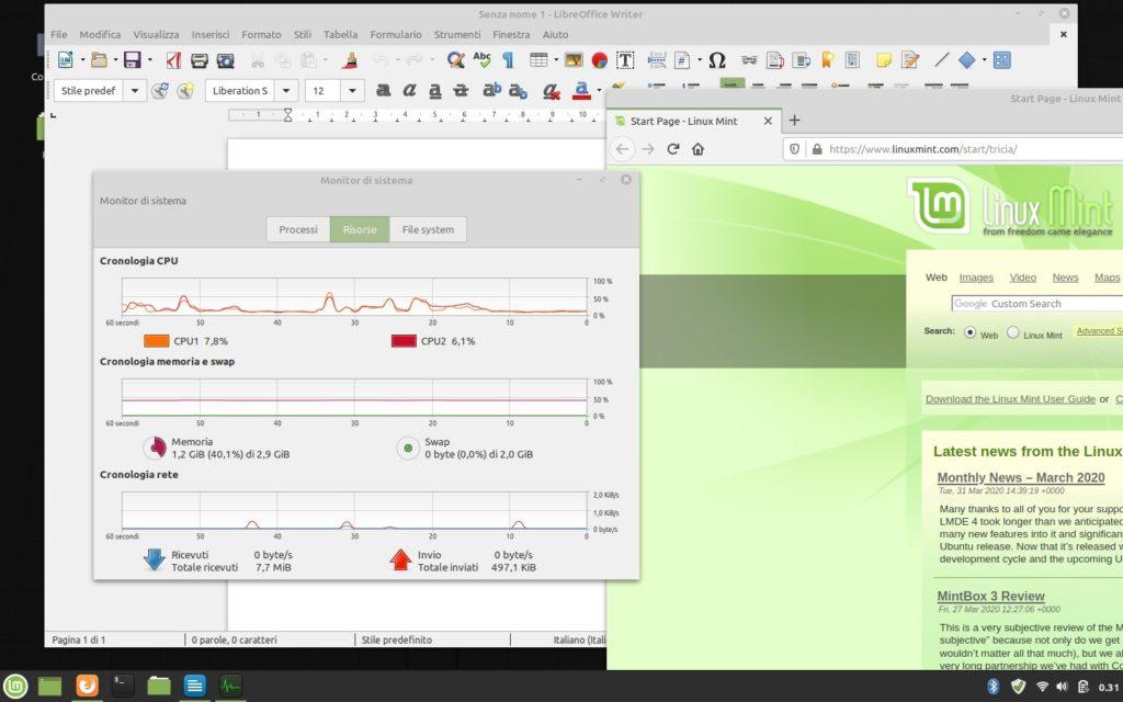 impiego risorse Linux Mint con browser e Writer aperti