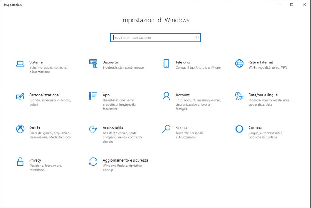 impostazioni di sistema di Windows 10