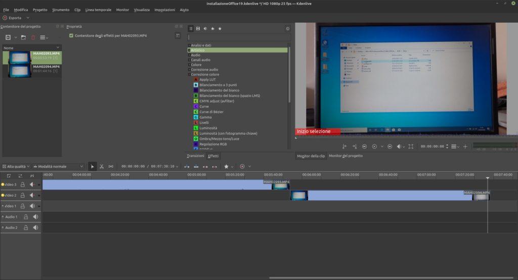 schermata di Kdenlive, editor video per Linux