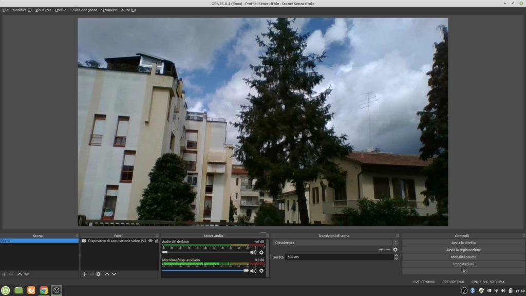 Schermata di OBS Studio in Linux Mint