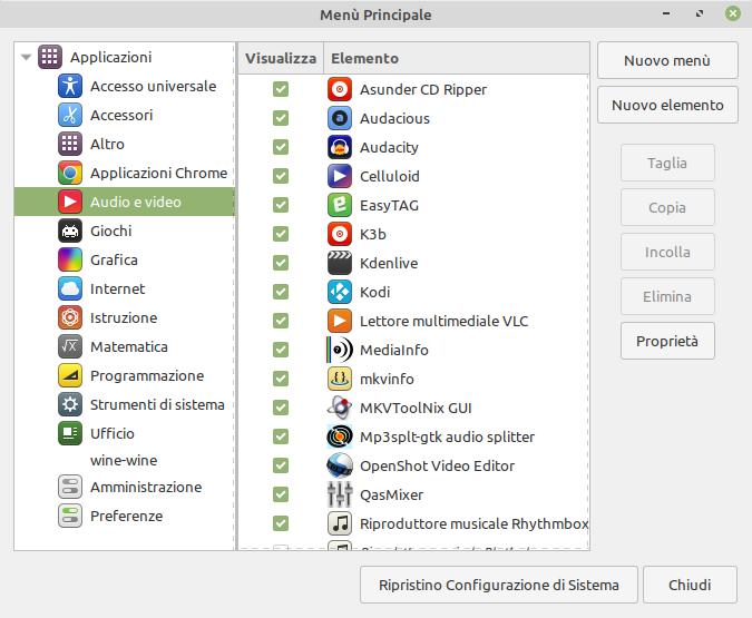 selezione della categoria in cui creare una nuova icona