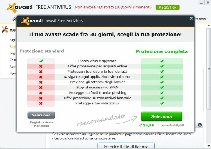scadenza di avast antivirus per Windows