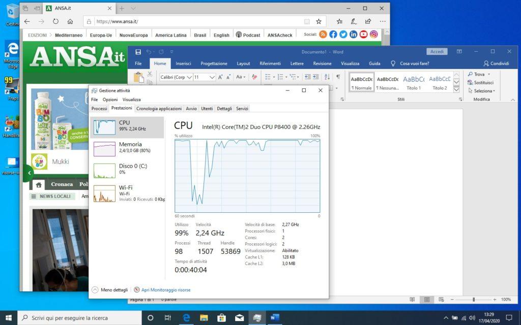 impiego di RAM con Windows 10 con Edge e Word aperti