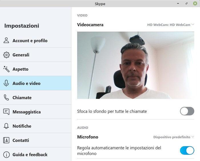 impostazioni video in Skype per linux