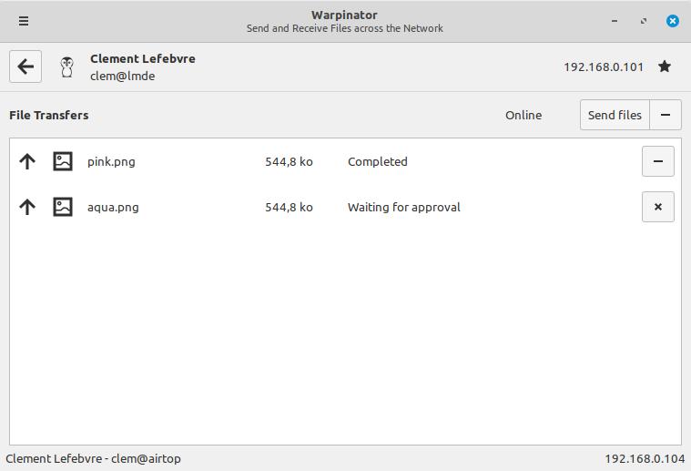 anteprima di warpinator in Linux Mint 20 Ulyana