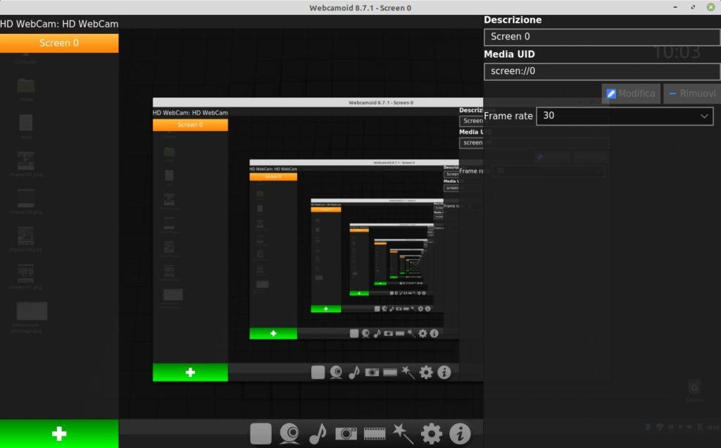 Registrazione dello schermo in Webcamoid