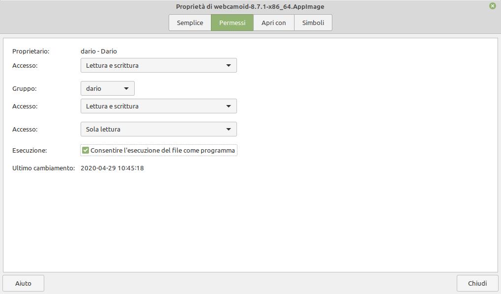 Attivare l'AppImage di Webcamoid in Linux Mint